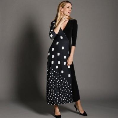 Dlouhé šaty, překřížený výstřih
