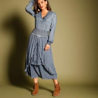 Volánová asymetrická sukně