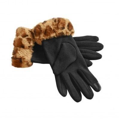 Rukavice s nepravou kožešinou, vhodné na dotykový displej