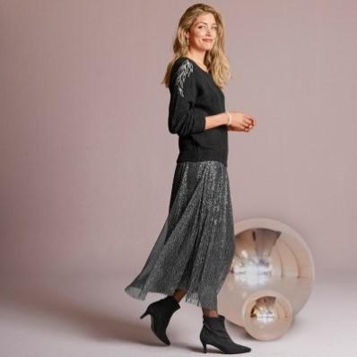 Plisovaná lesklá sukně