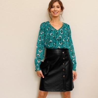 Koženková (1) propínací sukně