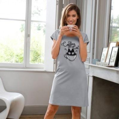 Krátká noční košile s potiskem Coffee Cat, bavlna