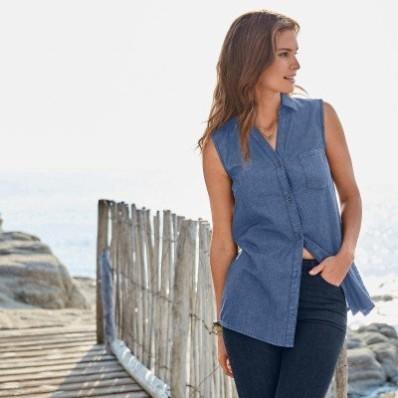 Džínsová košeľa bez rukávov, ekologické spracovanie