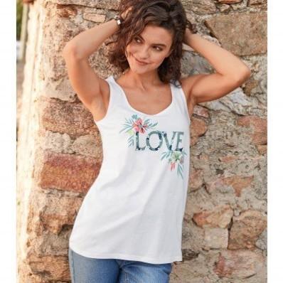 """Top s potlačou """"love"""", ekologické spracovanie"""