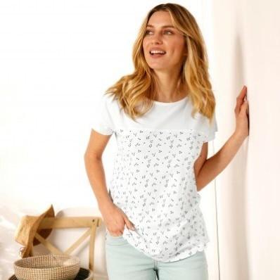 Tričko s potiskem květin, ekologicky vyrobené