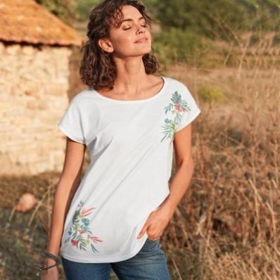 Tričko so stredovou potlačou,  ekologické spracovanie