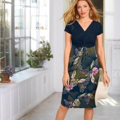Krátké šaty s krátkými rukávy a potiskem