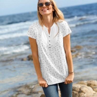 Tuniské tričko s potlačou kvetín, ekologické spracovanie