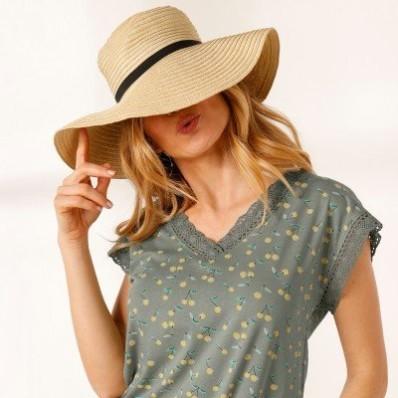 Tričko s macramé, s potlačou a krátkymi rukávmi
