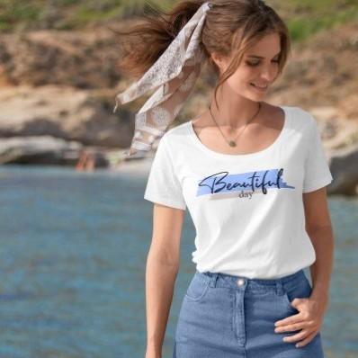 """Tričko s potlačou """"Beatiful day"""", ekologické spracovanie"""