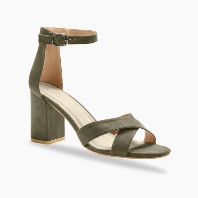 Sandály s překříženými pásky, khaki