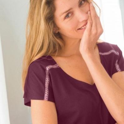 Pyžamové tričko s krátkými rukávy, jednobarevné