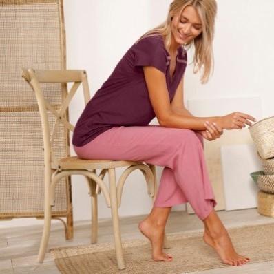 Pyžamové široké kalhoty, jednobarevné