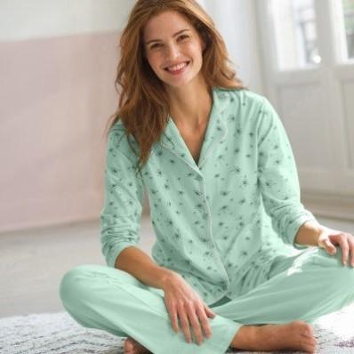 Bavlnené pyžamo s kostýmkovým golierikom, potlač