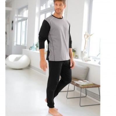 Pyžamo s prešitím a dlhými rukávmi, s nohavicami