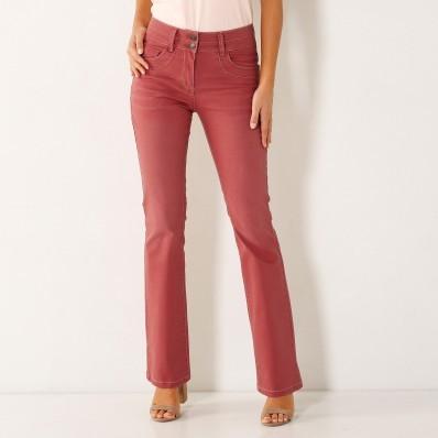 Strečové farebné bootcut džínsy