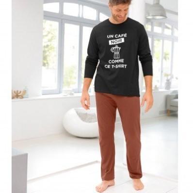 Dvoubarevné pyžamo s dlouhými rukávy kalhotami