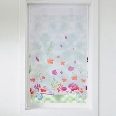 Vitrážová záclona s vyhrnutím, potlač lúčnych kvetov