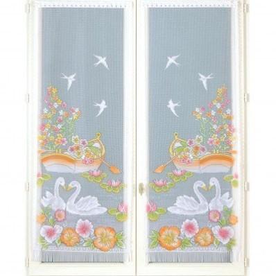 Rovná vitrážová záclona s motivem labutí, 1 pár