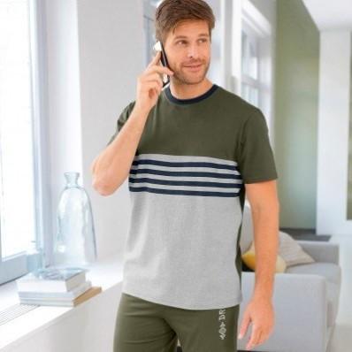 Pyžamové tričko s pruhmi a krátkymi rukávmi