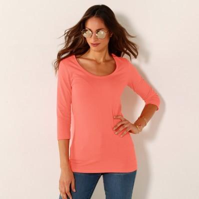 Jednobarevné tričko s 3/4 rukávy