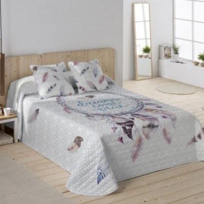 Prešívaná prikrývka na posteľ s potlačou Lapač snov