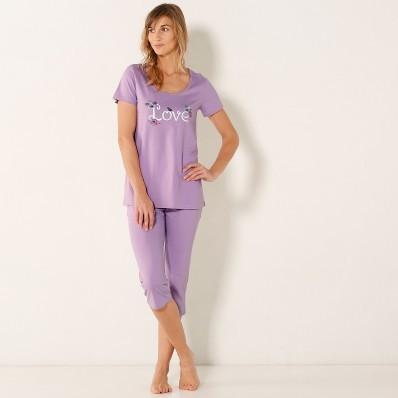 Pyžamo s 3/4 nohavicami a potlačou love, bavlna