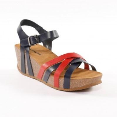 Kožené dvojfarebné sandále na kline, námornícka modrá