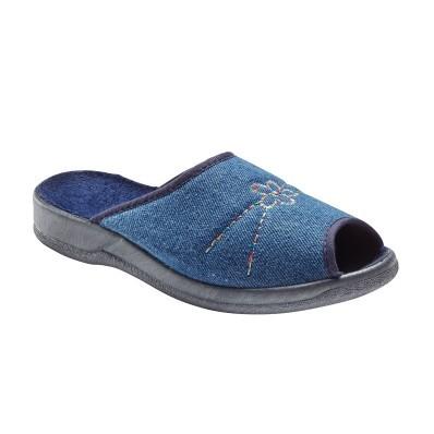 Denimové papuče s výšivkou, otvorená špička