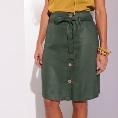 Vzdušná sukňa na gombíky, jednofarebná