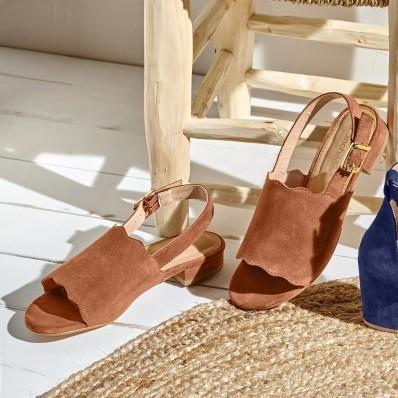 Sandále z koženej usne, karamelové