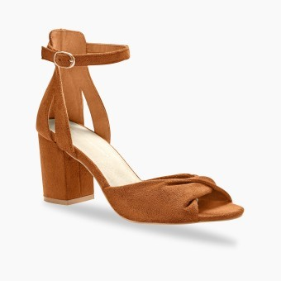 Sandále na podpätku, karamelové