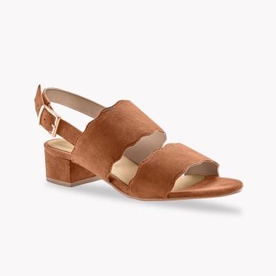 Sandály na podpatku, kožená useň, karamelové