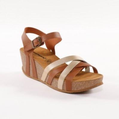 Kožené dvoubarevné sandály, kaštanové