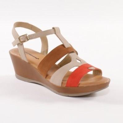 Kožené sandále na kline, trojfarebné