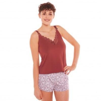 Pyžamo so šortkami Espérance, mikrovlákno a čipka