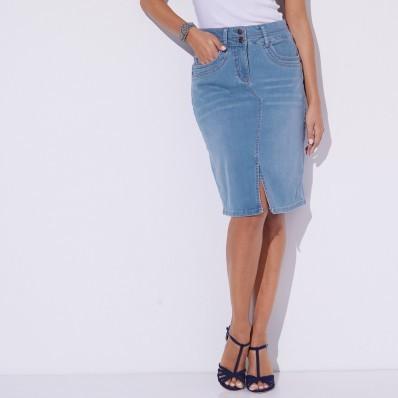 Džínsová sukňa s rázporkom
