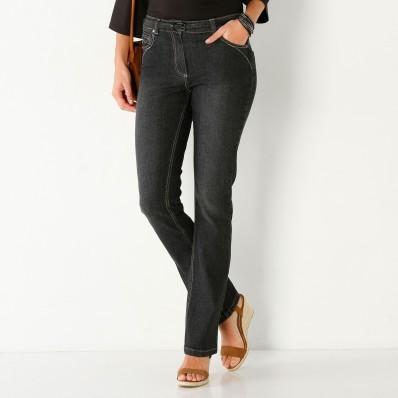 Rovné džínsy s push-up efektom, pre nižšiu postavu