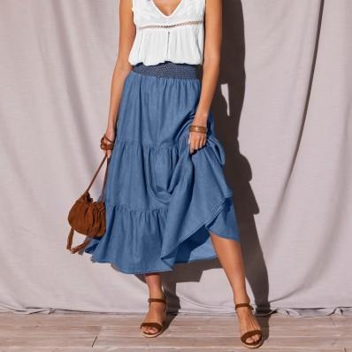 Denimová dlouhá sukně s volány a potiskem