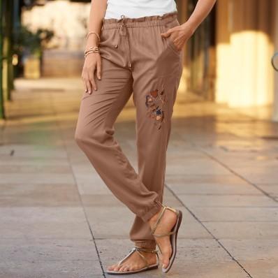 Vzdušné nohavice s výšivkou