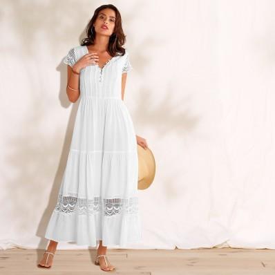 Dlouhé macramé šaty s volány