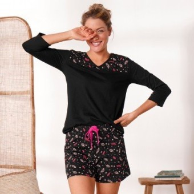 Pyžamové tričko se 3/4 rukávy a středovým potiskem