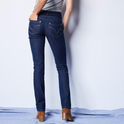 Rovné džíny s push-up efektem, certifikát Öko-Tex, barva brut
