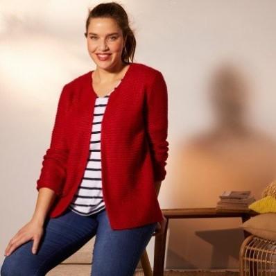 Vroubkovaný svetr mohérový na dotek