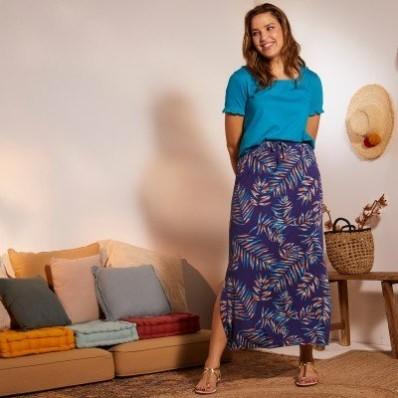 Dlhá sukňa s potlačou palmových listov