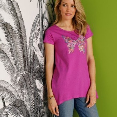 Tunika s potlačou motýľa, purpurová, eco-friendly