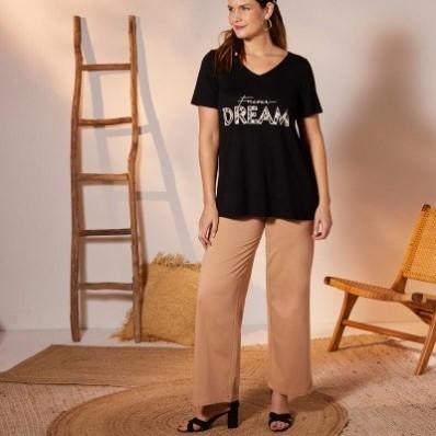 Široké úpletové nohavice, jednofarebné
