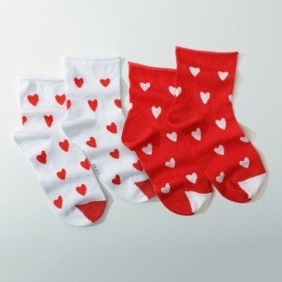 Súprava 2 párov ponožiek so srdiečkami