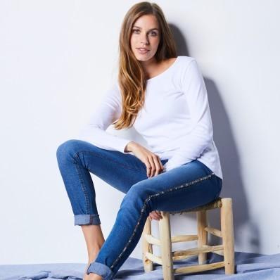 Tričko s dlouhými rukávy, bílé, ekologická výroba