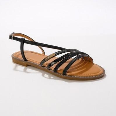 Ploché remienkové sandále, čierne